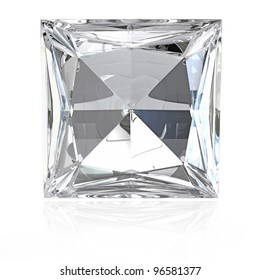 Princess cut diamond isolated on white background
