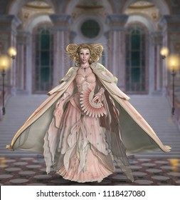 A princess like beautiful woman, in a vintage prom dress, on her way through the palace to her first dance. 3d render illustration
