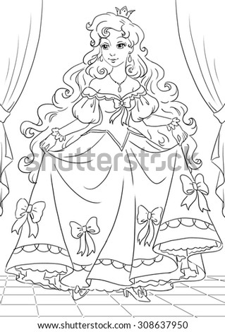 Princess Line Art Coloring Book Stock Illustration 308637950 ...