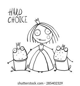 Princess Making Choice Between Two Prince Frogs Coloring Page Fun Childish Hand Drawn Outline Illustration