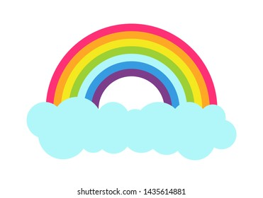 Princess party poster with multi-colored rainbow and cloud below after rain weather color natural phenomena isolated on raster illustration