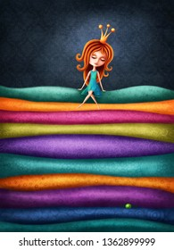 The Princess and the Pea.Digital illustration.