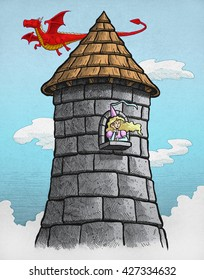 Princess stuck in tower while a dragon flies around it