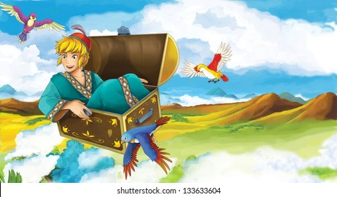 The princesses - castles - knights and fairies - Beautiful Manga Girl - illustration for the children - Shutterstock ID 133633604