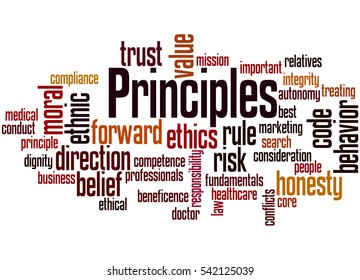 Principles, word cloud concept on white background.