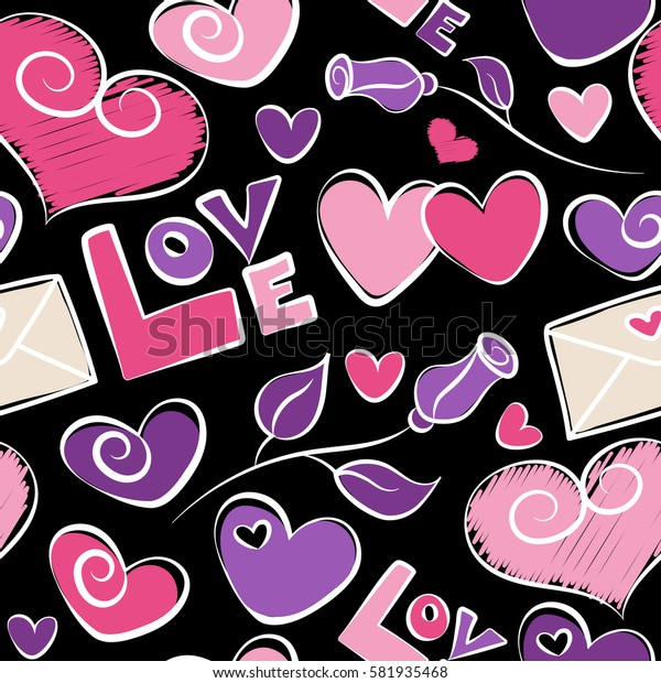 Print card, cloth,cover, gift, banner, poster, greeting, invitation. Creative, luxury style on a black. Seamless Valentines day background. Hearts seamless pattern in purple, pink and violet colors.