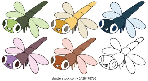 Print cartoon doodle monster dragonfly happy funny color set hand draw