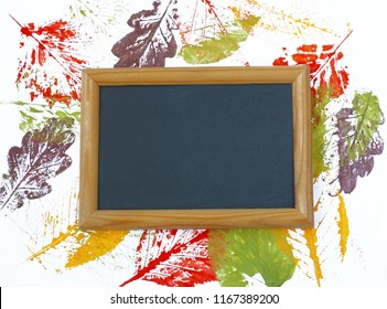 print colorful leaves on white paper, watercolor illustration, blackboard, autumn mock up
