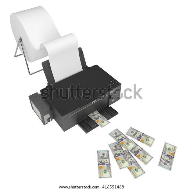 Print Counterfeit Money On Printer 3d Stock Illustration