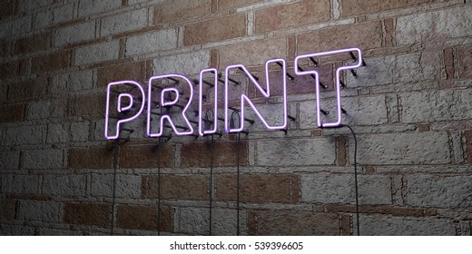 PRINT - Glowing Neon Sign on stonework wall - 3D rendered royalty free stock illustration.  Can be used for online banner ads and direct mailers.