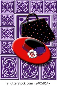 Print intended for the Red Hat Society of ladies.  Hat and purse.