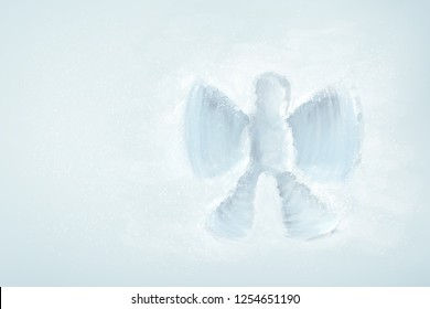 Print on the fresh snow, reminding a figure of an angel