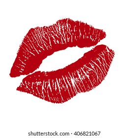 Print of red lips. illustration on white background.