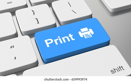 Print text on keyboard button. 3d illustration