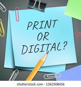 Print Vs Digital Note Showing Published Brochure Versus Digital Version. Media Publication Against Online Advertisement - 3d Illustration