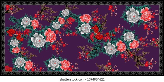 Printable Abstract raster Colorful Shirt Front Back And Pashmina Shawl, Floral Design For Textile And Digital. - Illustration