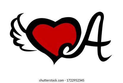 Printable black and red colour A letter tattoo wings design Natural handmade Style.