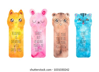 Printable bookmarks with cute cartoon animals - fox, cat, rabbir, beaver. Watercolor ready to use templates bookmark with inspirational text. Isolated on white