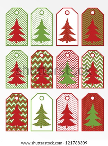 Printable Christmas Gift Tags Dark Red Stock Illustration 121768309 ...