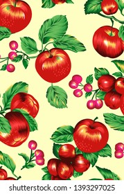 Printable coloful fruits and flowers for textile and digital print - Illustration