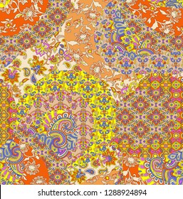 Printable Colorful Seamless Digital And Textile Floral Pattern With Paisley For Pashmina shawl Repeat Design- Illustration
