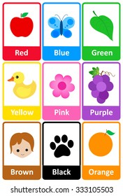graphic regarding Printable Color Flashcards for Toddlers identify Young children Flash Playing cards Pictures, Inventory Visuals Vectors Shutterstock