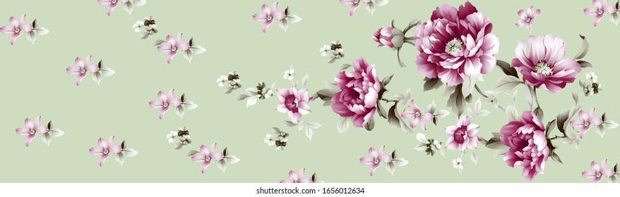 Printable Floral Background, Halftone Flowers Bouquet, Floral illustration, Botanical composition for greeting card, textile and digital print - Illustration