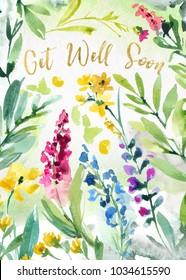 Printable Get Well Soon Watercolor Flower Sympathy Card
