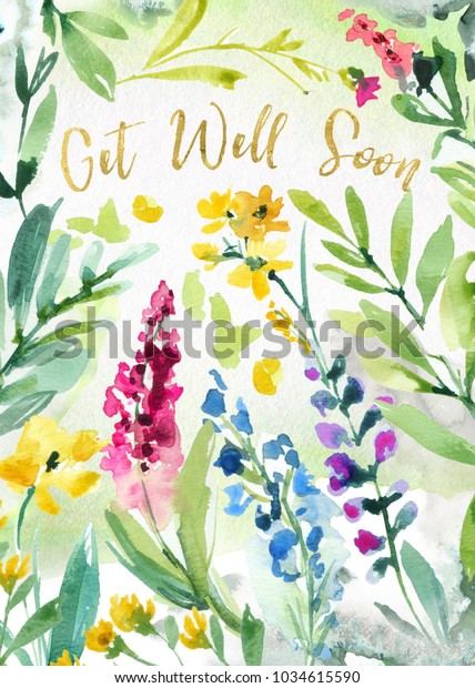 graphic regarding Printable Get Well Cards titled Printable Buy Nicely Before long Watercolor Flower Inventory Example