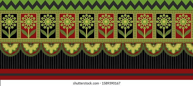 Printable High Resolution Border Design. A chinese floral composition the leaves and flowers with baroque pattern background for wedding greeting card, textile and digital printing - illustration