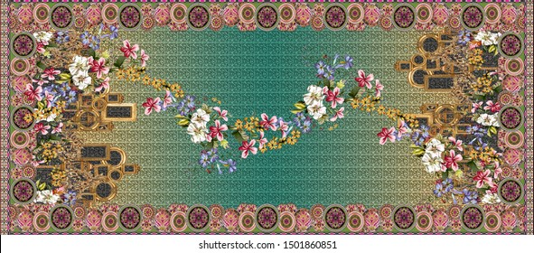 Printable High Resolution Ornament Border Design. A chinese floral composition the leaves and flowers with baroque pattern background for, textile and digital printing - illustration