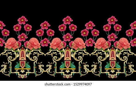 Printable High Resolution Ornament Border Design. A chinese floral composition the leaves and flowers with tiger skin pattern background for, textile and digital printing - illustration