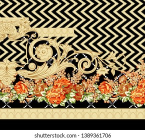 Printable High Resolution. paisley with floral border design for textile and digital print - illustration