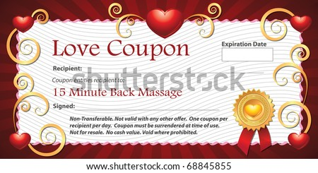 a printable love coupon gift for fifteen minute back massage