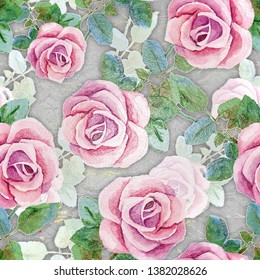 Printable Plastic wrap design of pink and white roses with Grey Background. ceramic tile design for wall tiles and floor tiles. interior wall design wallpaper. Fabric wallpaper print texture.