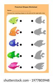 A printable preschool worksheet to match similar fish shapes.