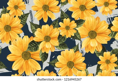 Printable seamless vintage repeat pattern background with yellow chrysanthemum flowers. Botanical wallpaper, raster illustration in super High resolution.