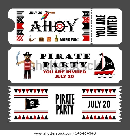 printable set vintage pirate party invitation stock illustration