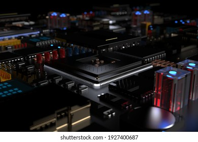 printed circuit board with microchips, processors and other computer parts on a dark background. 3d render