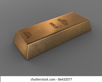 printed gold bar isolated on grey