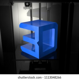 The printed object in the 3d printer. 3 d rendering illustration