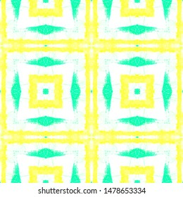Printed Plaid Pattern. Tie Dye Quadrangle Swimwear Design. Artistic Painted Illustration. Abstract Ethnic Print. Seamless Watercolor Printed Plaid.
