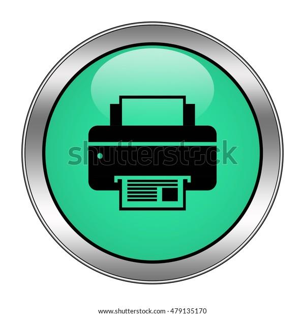 printer icon. Internet button .3d illustration