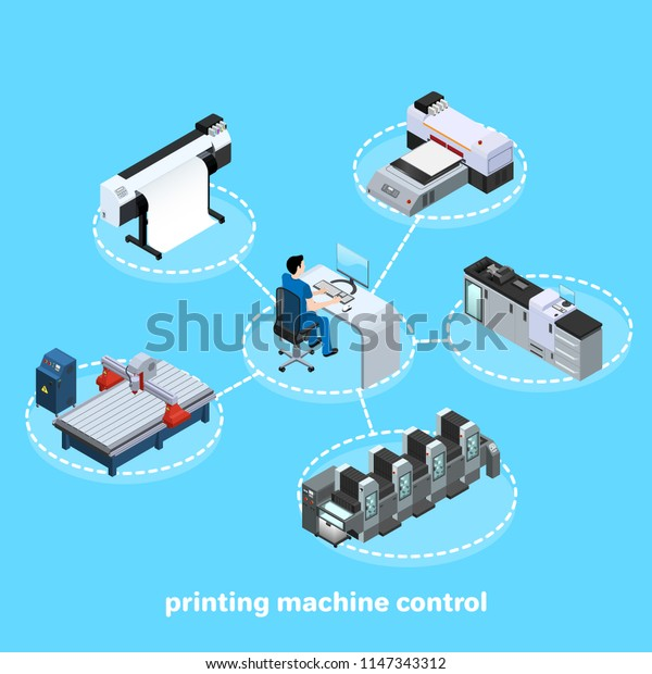 printing machine control, Professional equipment for  printing in the field of advertising, offset and digital as well as inkjet and ultraviolet printing, workers are servicing machines in production,