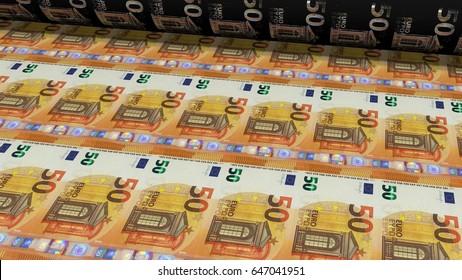Printing Money. Metal press. 50 euro Bills closeup. 3D Rendering
