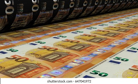 Printing Money. Metal press. 50 euro Bills closeup. 3D Rendering