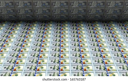Printing Money New 100 Dollar Bills. (Animation for this image see in my footage gallery)