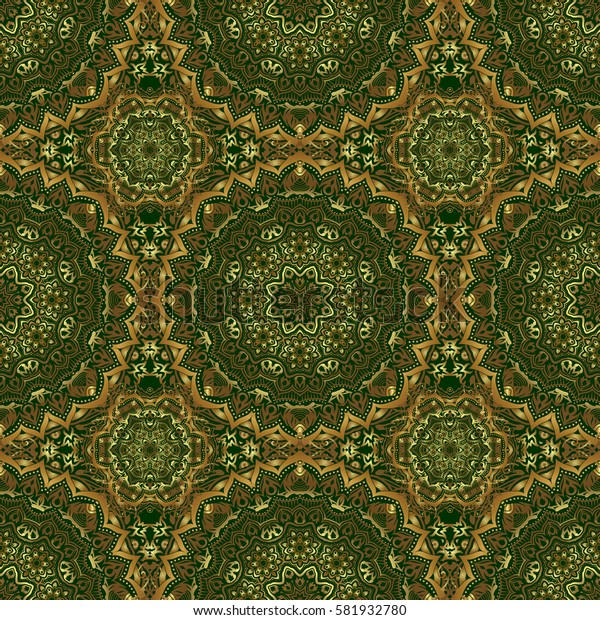 For printing on fabric, scrapbooking, gift wrapping. Seamless vintage pattern in gold on green background.