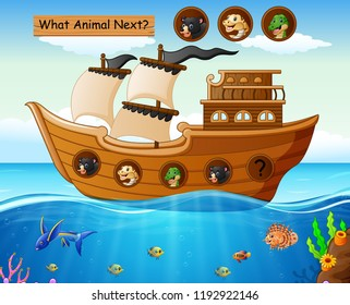PrintWood boat sailing with wild animals theme