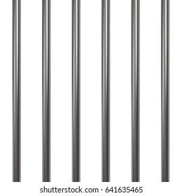 Prison bars isolated on white. Raster illustration.